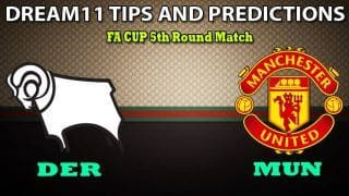 DER vs MUN Dream11 Team Prediction, FA Cup, 5th Round: Captain And Vice-Captain, Fantasy Cricket Tips Derby County vs Manchester United at Pride Park Stadium 1:15 AM IST
