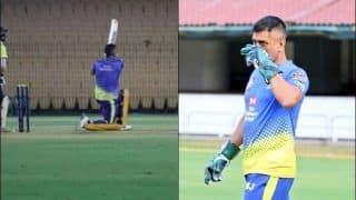 IPL 2020: MS Dhoni Smashes Five Huge Sixes During CSK Practice Session, Dons Gloves at Chepauk | WATCH VIDEO