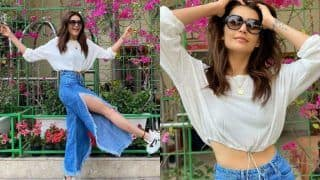 Karishma Tanna is Raising Fashion Bar in Crop Top And Thigh-high Slit Denim Pants as She Flaunts Her Perfect Curves