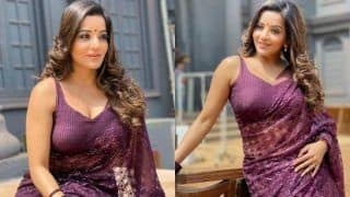 Bhojpuri Sizzler And Nazar Fame Monalisa's Sultry Look in Sheer Purple Saree is Giving us Major Fashion Goals