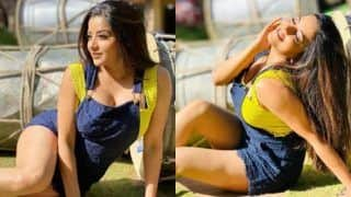 Bhojpuri Hot Bomb Monalisa Wears Blue Dungaree Dress And Bright Yellow Top, Looks Sexy in Sultry Pictures