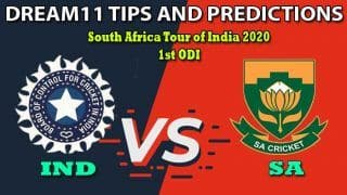 India vs South Africa Dream11 Team Prediction, South Africa Tour of India 2020, 1st ODI: Captain And Vice-Captain, Fantasy Cricket Tips IND vs SA at HPCA Stadium, Dharamsala 1:30 PM IST