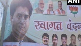 Ink Thrown on BJP Poster Welcoming Scindia Ahead of His Road Show in Bhopal