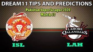 ISL VS LAH PSL Dream11 Team Prediction, Pakistan Super League 2020, Match 17