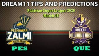 PES vs QUE Dream11 Team Prediction, PSL, Pakistan Super League 2020, Match 18