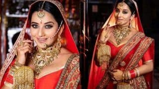 Bhojpuri Bombshell Monalisa Looks Smouldering Hot in Red Bridal Wear, Pictures go Viral