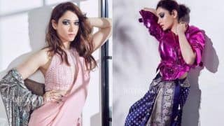 South Sizzling Queen Tamannaah Bhatia Gives Indo-western Twist to Saree Looks, Looks Hot And Sexy in Latest Photoshoot