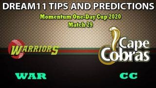 WAR vs CC Dream11 Team Prediction, Momentum One-Day Cup 2020, Match 29: Captain And Vice-Captain, Fantasy Cricket Tips Warriors vs Cape Cobras at Buffalo Park, East London 5:00 PM IST