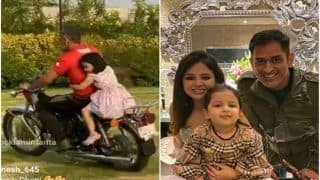 MS Dhoni Gives Ziva Indoor Bike Ride Amid Lockdown, Sakshi's Comment Steals Show | WATCH VIDEO