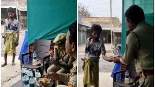 VIDEO: सामने आया भूखा शख्स, सब इंस्पेक्टर ने खुद न खाकर उसे दे दिया अपने हिस्से का खाना