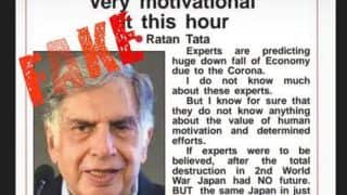 Fake News Busted: Ratan Tata Has Not Written Any Viral Message About Economy in Times of COVID-19