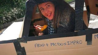 Mother, Daughter Build Cardboard Car to Drive to McDonald's Serving Only Drive-thru Customers