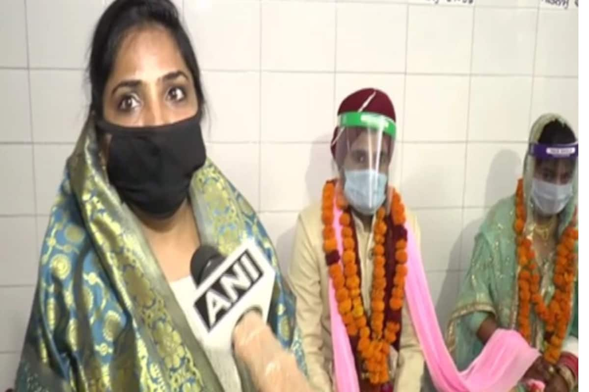 The New Normal Couple Ties Knot Wearing Masks And Face Shields At