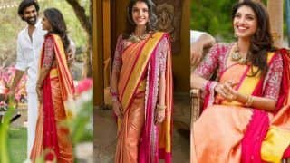 Rana Daggubati's Fiancee Miheeka Bajaj's Roka Look Decoded: Silk Saree With Wine Blouse And Dupatta by Jayanti Reddy Label