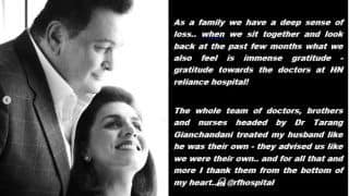 Neetu Kapoor Thanks Doctors, Nurses, Brothers of HN Reliance Hospital Foundation Who Worked on Rishi Kapoor's Treatment in an Emotional Note