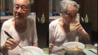 Viral Video: Internet Goes Heart-Eyed Over 91-Year-Old Grandpa Making Dalgona Coffee as Instructed by Grandchildren