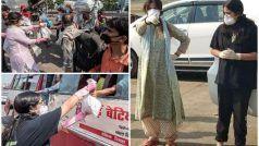 मजदूरों की मदद करने निकला अखिलेश का परिवार, पत्नी डिंपल और बेटी टीना बाँट रही हैं राशन