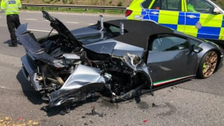 Brand New Lamborghini Worth Crores Damaged In Crash Just 20 Minutes After Purchase in England