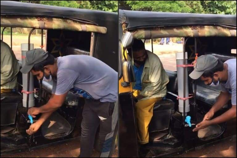 Viral Video: Kerala Autorickshaw Driver Grabs 2.1 Million Views on TikTok For in-Built Handwashing Dispensers