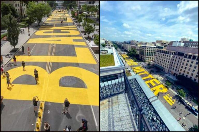 Washington Mayor Renames Road Leading to White House as 'Black Lives Matter Plaza', Protesters Paint it Yellow With Happiness