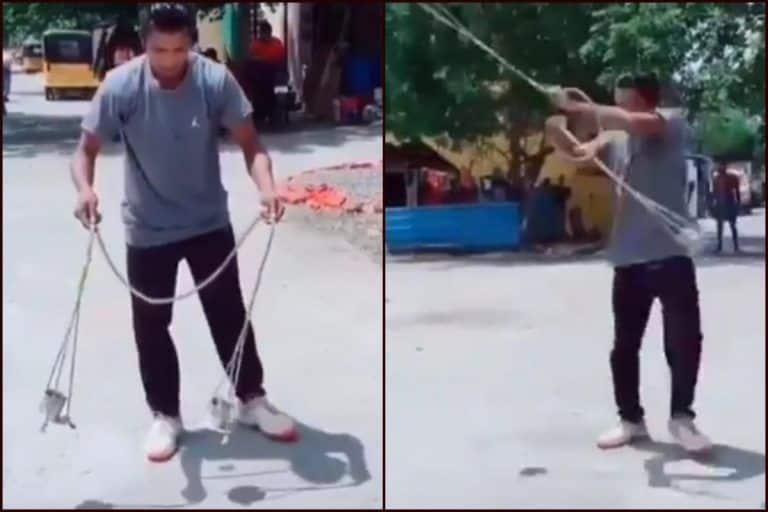 Beautiful Display of Physics! Man Swings Two Glasses of Water Without a Single Drop Falling | WATCH