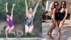 ब्लैक एंड व्हाइट मोनोकिनी पहन सनी लियोन ने सहेलीसंग लगाई पूल में छलांग, VIDEO VIRAL