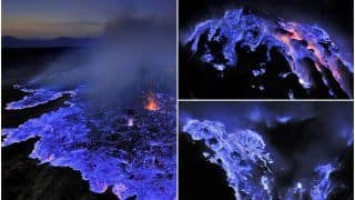 Volcano That Spews Blue Lava? Mesmerising Sight of Indonesia's Kawah Ijen Volcano at Night Will Leave You in Awe of Nature Once More