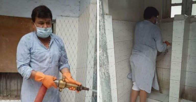 MP Minister Cleans Dirty Toilets Himself After Women Employees Complain About Them, Wins Praise