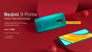 Redmi 9 Prime Flash Sale Starts in India Today at 12 pm – Check Price, Specifications, Camera Features