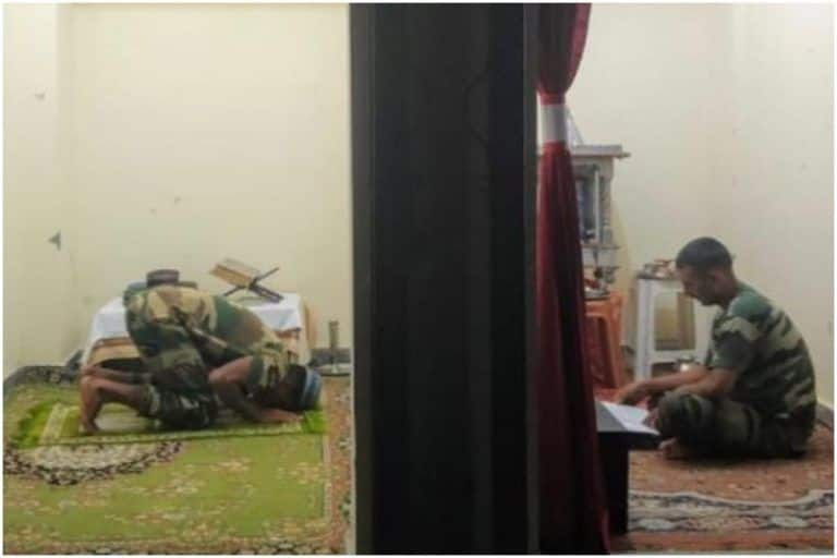 'Separated by Religion, United by Faith': This Pic of Indian Army Soldiers Praying Is Making People Proud