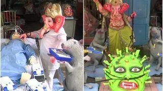 Tribute to Doctors: Lord Ganesha Idols in Bengaluru Dressed As Healthcare Workers Ahead Of Ganesh Chaturthi