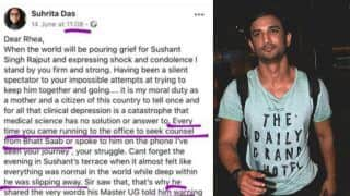 Viral Facebook Post Claims Rhea Chakraborty Sought Help From Mahesh Bhatt For 'Clinically Depressed' Sushant Singh Rajput