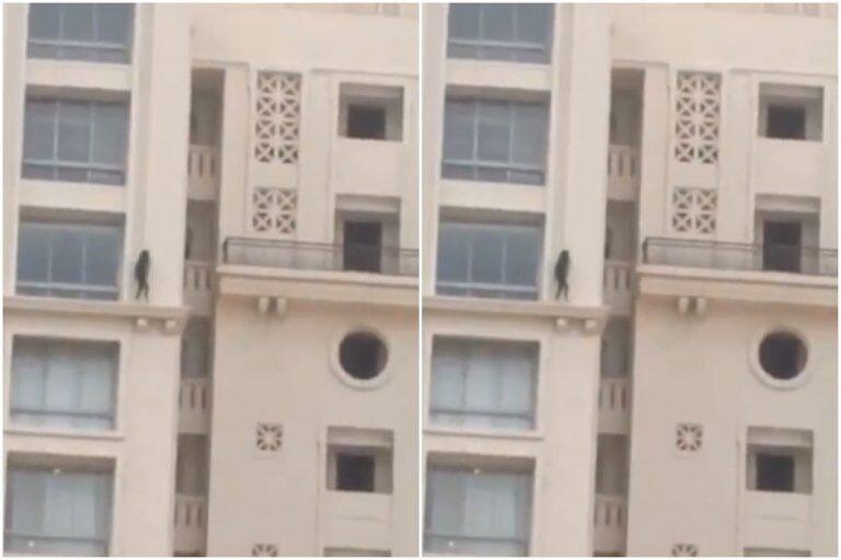 Heart-Stopping! Chilling Video of a Girl Walking on Ledge of High-Rise Apartment Goes Viral | Watch