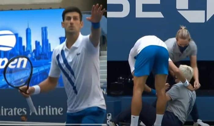 Us Open 2020 Novak Djokovic Hits Line Official With A Ball Gets Disqualified Watch Video