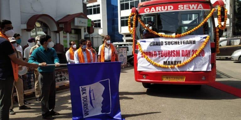 Open-Roof Luxury Bus For Suchetgarh Border Launched on World Tourism Day in Jammu