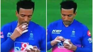 WATCH | Uthappa Stirs Controversy, SPOTTED Applying Saliva on Ball During KKR Match