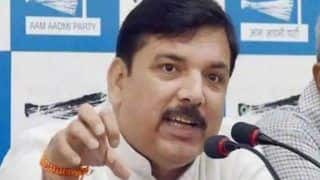 Man Throws Ink on AAP MP Sanjay Singh in Hathras After he Met Victim's Kin, Detained | WATCH