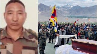 Amid Chants of 'Bharat Mata Ki Jai', Braveheart Nyima Tenzin Laid to Rest in Leh, Twitter Pays Emotional Tribute | Watch