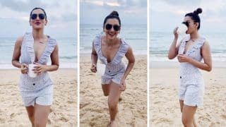 Gauahar Khan Enjoys Her Day Out on a Beach in a White Swimsuit worth Rs 2.5K