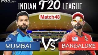 LIVE IPL 2020 MI vs RCB Scorecard, IPL Today's Match Live Cricket Score And Updates Online Match 48: Rohit Sharma Unlikely as Mumbai, Bangalore Aim to Secure Playoff Berth