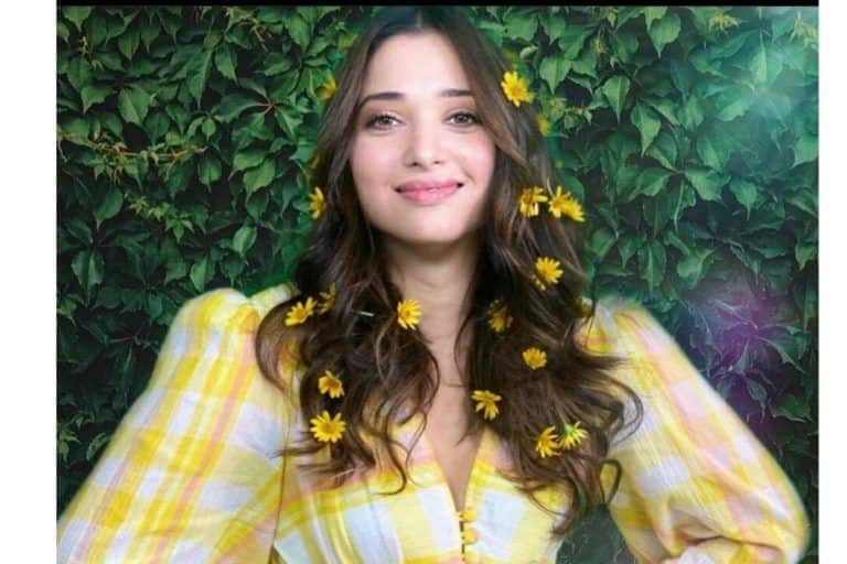 Tamannaah Bhatia Looks as Fresh as Daisy in A Yellow Plaid Dress by Pink Porcupines
