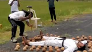 Blindfolded Martial Arts Master From Andhra Smashes 49 Coconuts Placed Around Student, Creates Guinness World Record | Watch