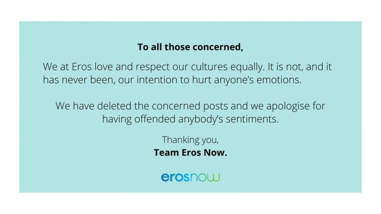 #BoycottErosNow Trends Online as Twitterati Express Outrage Over Navratri Post; Company Issues Apology