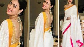 Kajol Looks Absolutely Stunning in White Saree And Perfect Chandbalis as She Wishes Fans 'Happy Dussehra'