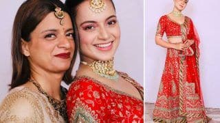 Kangana Ranaut Looks Like a Bride Herself at Family Function in a Red Lehenga by Ritu Kumar