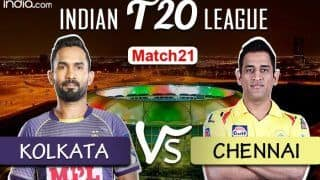 LIVE Kolkata Knight Riders vs Chennai Super Kings Match 21 Live Cricket Score And Updates: MS Dhoni And Co Will Look to Continue Winning Momentum in Abu Dhabi