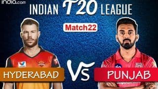 LIVE Sunrisers Hyderabad vs Kings XI Punjab Match 22 Live Cricket Score And Updates: Both Sides Look to Get Back to Winning Ways in Dubai