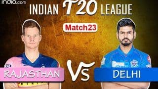 Live Cricket Score Rajasthan vs Delhi IPL 2020, Match 23