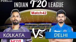 KKR vs DC Live Cricket Score, IPL 2020: Rabada Strikes to Remove Narine on 64, Breaks Century Stand