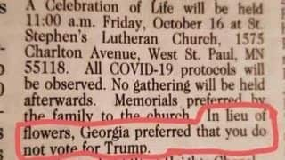US Woman's Obituary Says In Lieu Of Flowers 'Do Not Vote For Trump'